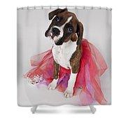 Portrait Of Dog Wearing Tutu Shower Curtain