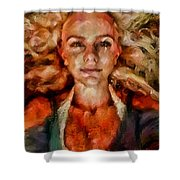Portrait Of Female With Hair Billowing Everywhere In Radiant Unsmiling Sharp Features Golden Warm Colors And Upturned Nose Curls And Aliens Of The Departure Shower Curtain