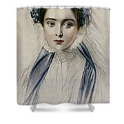 Portrait Of Her Majesty Queen Victoria As A Young Woman By Emile Desmaisons Shower Curtain