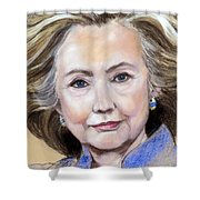 Pastel Portrait Of Hillary Clinton Shower Curtain