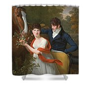 Portrait Of Jean-louis Gustave D'hautefort And His Sister Marie-therese-thais D'hautefort Shower Curtain