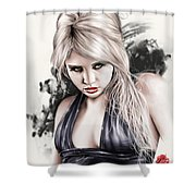 Portrait Of Miss Mosh Shower Curtain by Pete Tapang