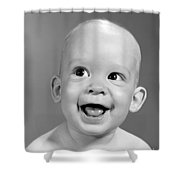 Portrait Of Nearly Bald Baby, C.1960s Shower Curtain