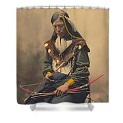 Portrait Of Oglala Sioux Council Chief Bone Necklace Shower Curtain