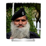 Portrait Of Pakistani Security Guard With Flowing White Beard Karachi Pakistan Shower Curtain