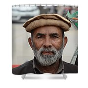 Portrait Of Pathan Tuk Tuk Rickshaw Driver Peshawar Pakistan Shower Curtain