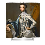 Portrait Of Sir James Lowther 1st Earl Of Lonsdale Three Quarter Length Holding A Mask In His Right  Shower Curtain