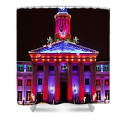 Portrait Of The Denver City And County Building During The Holidays Shower Curtain