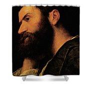 Portrait Of The Poet Pietro Aretino Shower Curtain