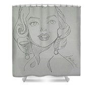 Portrait Of The Tragic Marilyn Monroe, In Graphite Shower Curtain