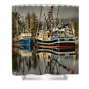 Portrait Of The Ucluelet Trawlers Shower Curtain
