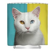Portrait Of White Cat On Blue And Yellow Background Shower Curtain