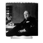 Portrait Of Winston Churchill  Shower Curtain