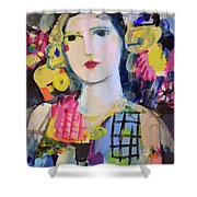 Portrait Of Woman With Flowers Shower Curtain