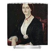 Portrait Of Woman With Peony Shower Curtain