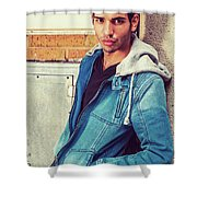 Portrait Of Young Man In New York Shower Curtain