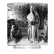 Portrait Sisters Village Elders Seniors Indian Rajasthani Bnw 2a Shower Curtain