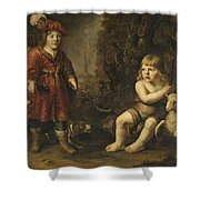 Portraits Of Two Boys In A Landscape One Dressed As A Hunter The Other St As John The Baptist Shower Curtain