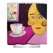 Portrat With Cup And Flowers Shower Curtain