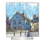 Portsmouth New Hampshire Pencil Shower Curtain