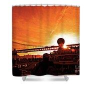 Sunset Under The 25 April Bridge Lisbon Shower Curtain