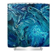 Poseidon's Horses Shower Curtain