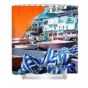Positano Beach Pop Art Shower Curtain