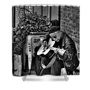 Post Alley Musician In Black And White Shower Curtain