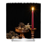 Post Card With Traditional Copper Dishes And Red Candle Shower Curtain