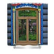 Post Dacha Window Shower Curtain