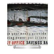 Post Office Savings Bank - Steamliner - Retro Travel Poster - Vintage Poster Shower Curtain