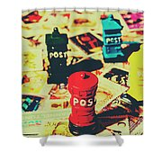 Postage Pop Art Shower Curtain
