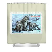 Postage Stamp - Snow Leopard By Kaye Menner Shower Curtain