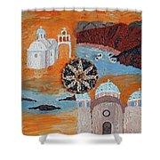 Postcard From Santorini Shower Curtain