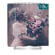 Postcard Girl With A Bouquet Shower Curtain