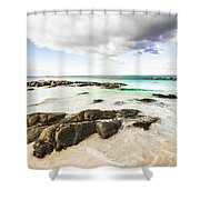 Postcard Perfect Ocean Background Shower Curtain