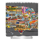 Postcards Of The United States Vintage Usa Map On Gray Wood Background Shower Curtain