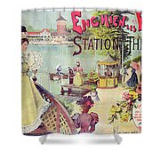 Poster Advertising Spa Resort  Shower Curtain