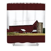 Poster Look American Red Barn With Silos I Niles Michigan Usa Shower Curtain