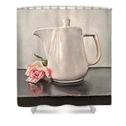 Pot Of Coffee And A Paper Rose Shower Curtain