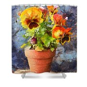 Potted Pansy Pencil Shower Curtain