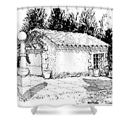 Potting Shed At Le Coin Retro In Le Thor France Shower Curtain