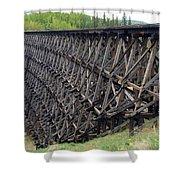 Pouce Coupe Train Wooden Trestle Shower Curtain