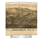 Poultney Vermont Map Vintage Shower Curtain