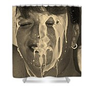 Poured Milk Shower Curtain