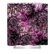 Powder Pink Black Gloss Fractal  Shower Curtain