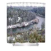 Powdered Spokane River Shower Curtain