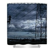 Los Angeles Power Grid At Dusk Shower Curtain