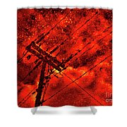 Power Line - Asphalt - Water Puddle Abstract Reflection 02 Shower Curtain