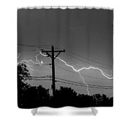 Power Lines Bw Fine Art Photo Print Shower Curtain